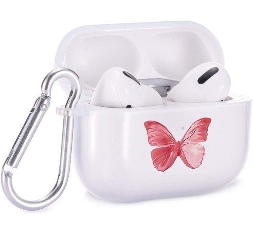 ShieldCase® Shieldcase Butterfly Kisses Apple Airpods Pro case (transparant/roze)