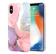 ShieldCase® Lovely Lila Marmer iPhone X / Xs hoesje (lila/roze)