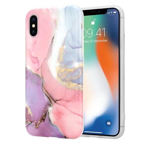 ShieldCase® ShieldCase Lovely Lila Marmer  iPhone X / Xs hoesje (lila/roze)