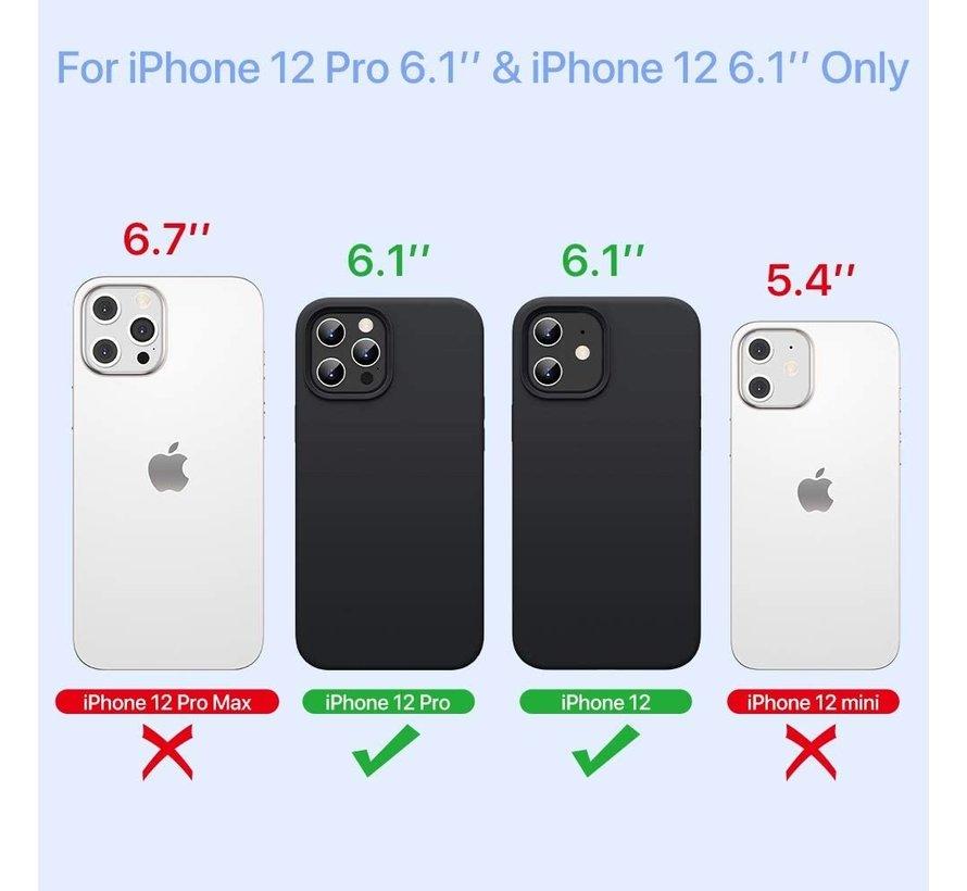 Ceezs iPhone 12 hoesje siliconen zwart + glazen Screenprotector