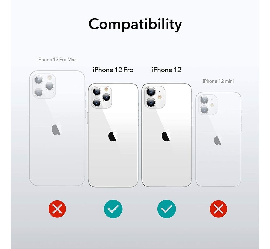 Ceezs iPhone 12 hoesje shockproof / schokbestendig transparant + glazen Screenprotector