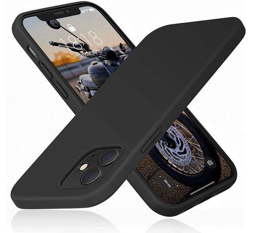 Ceezs Ceezs iPhone 12 Mini hoesje siliconen / iPhone 12 Mini case silicone zwart + glazen Screenprotector
