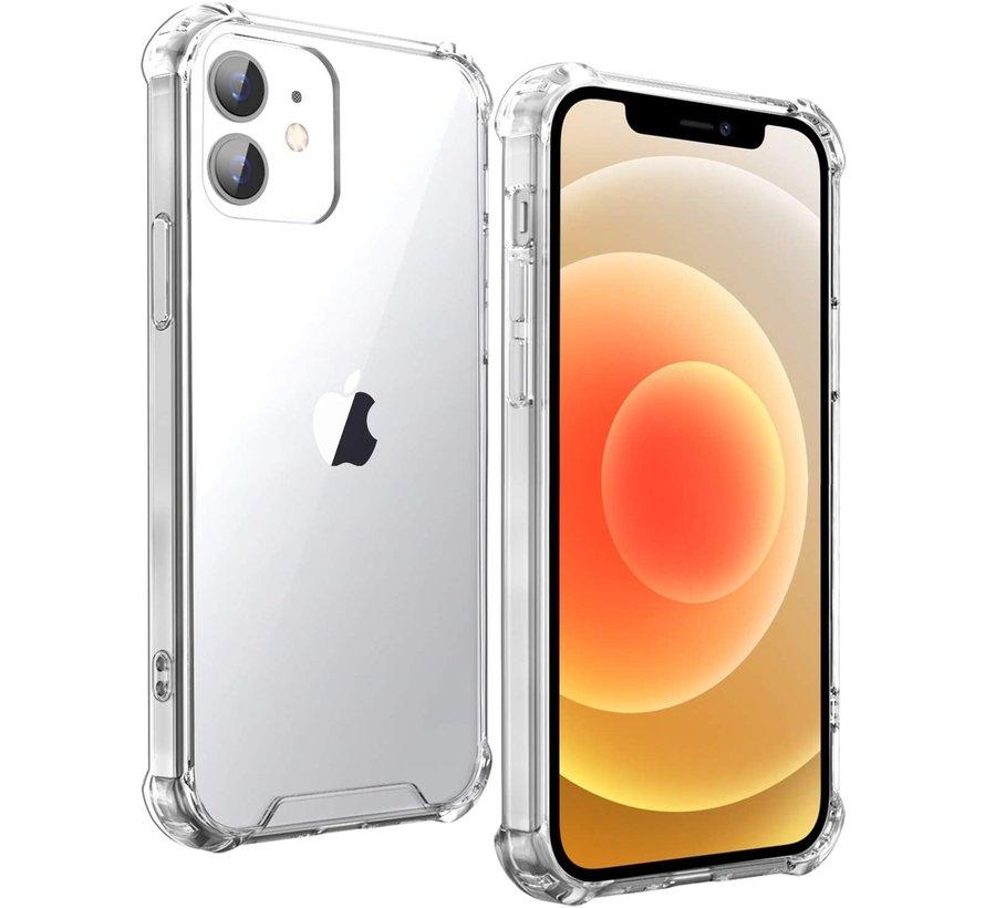Ceezs iPhone 12 Mini hoesje schokbestendig / shockproof TPU case transparant + glazen Screenprotector