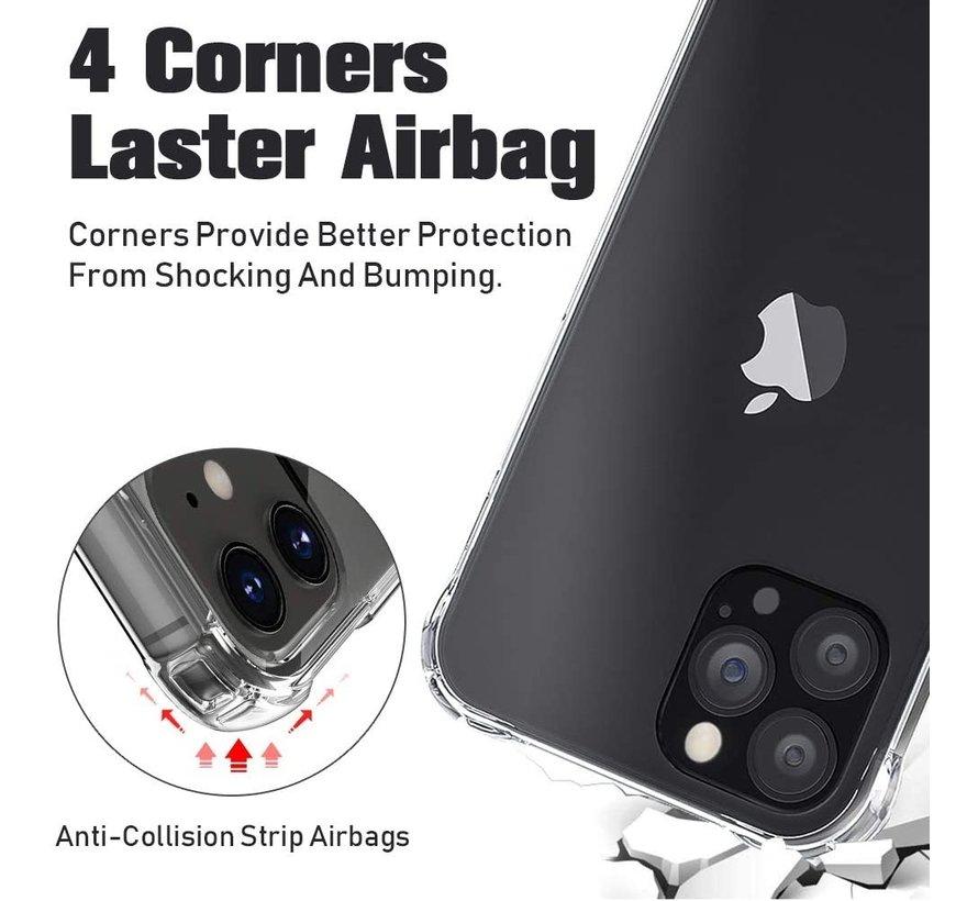 Ceezs iPhone 12 Pro Max hoesje shockproof / schokbestendig transparant + glazen Screenprotector