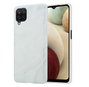 ShieldCase® Glossy White Marmer Samsung A12 hoesje (wit)