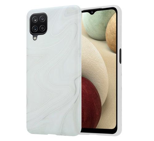 ShieldCase® ShieldCase Glossy White Marmer Samsung A12 hoesje (wit)