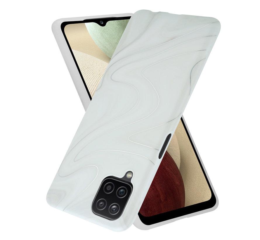 ShieldCase Glossy White Marmer Samsung A12 hoesje (wit)