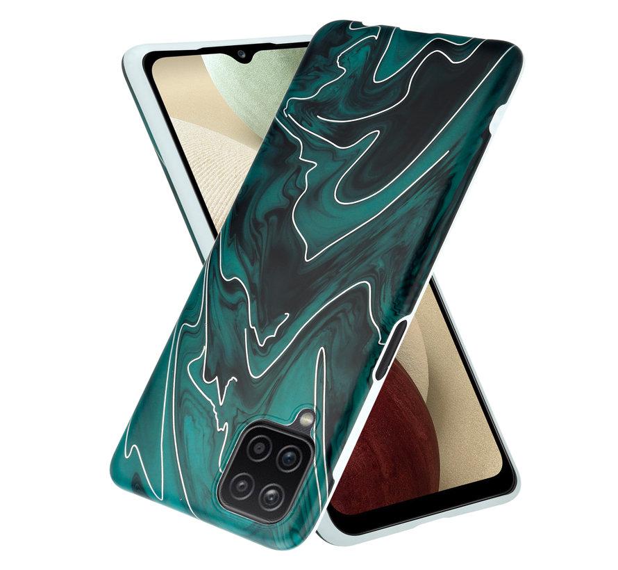 ShieldCase Glossy Green Marmer Samsung A12 hoesje (groen)