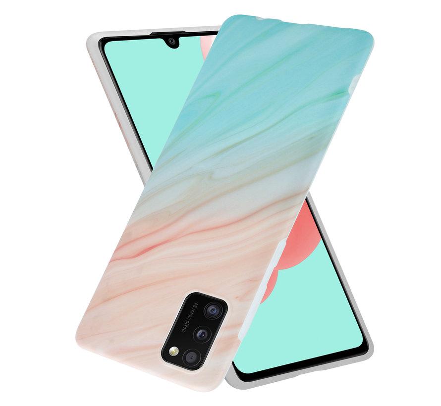 ShieldCase Beachy Marmer Samsung A41 hoesje (zalm/turquoise)