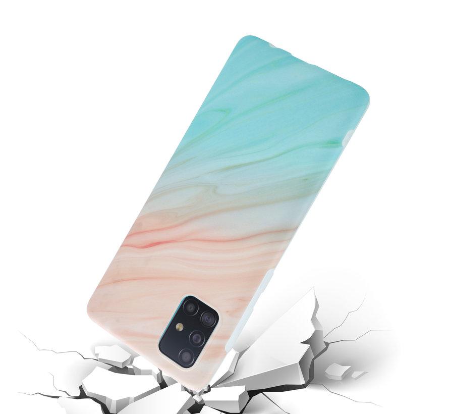 ShieldCase Beachy Marmer Samsung A51 hoesje (zalm/turquoise)