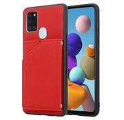 ShieldCase® Samsung Galaxy A21s wallet hoesje met bandje (rood)