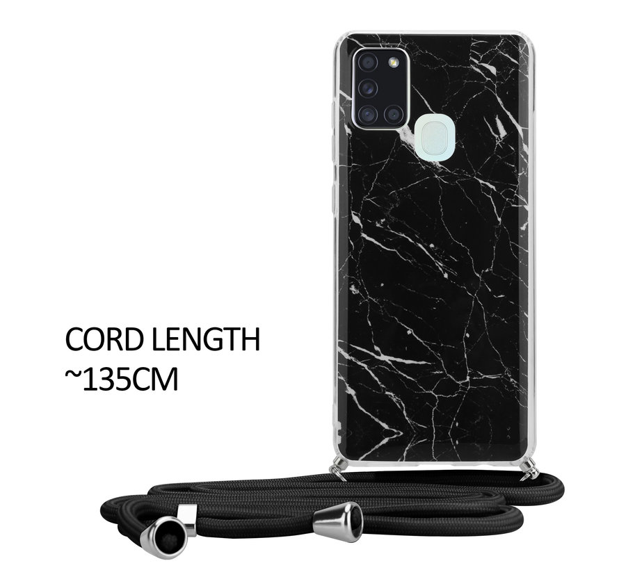 ShieldCase Black Marmble Dream Samsung A21s hoesje met koord (zwart)