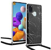 ShieldCase® Black Marmble Dream Samsung A21s hoesje met koord (zwart)