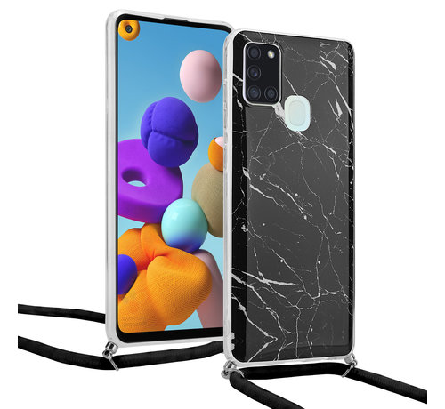 ShieldCase® ShieldCase Black Marmble Dream Samsung A21s hoesje met koord (zwart)