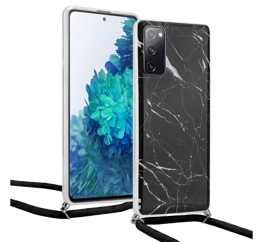 ShieldCase Black Marmble Dream Samsung S20 FE hoesje met koord (zwart)