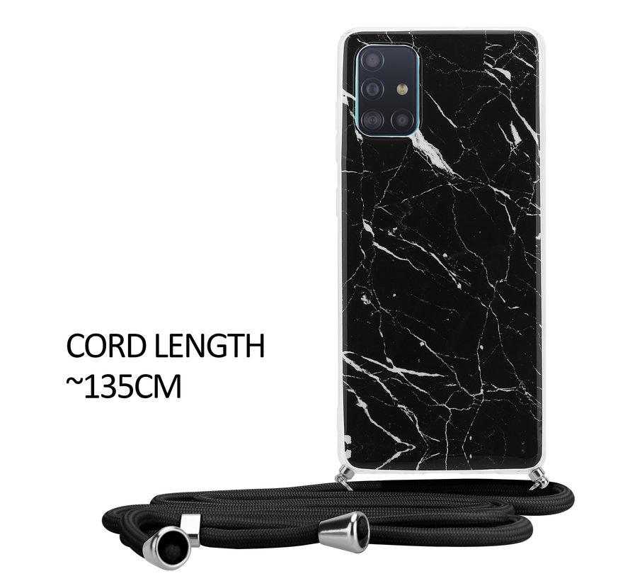 ShieldCase Black Marmble Dream Samsung A51 hoesje met koord (zwart)