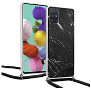 ShieldCase® Black Marmble Dream Samsung A51 hoesje met koord (zwart)