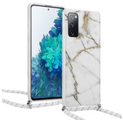 ShieldCase® White Marmble Dream Samsung S20 FE hoesje met koord (wit)