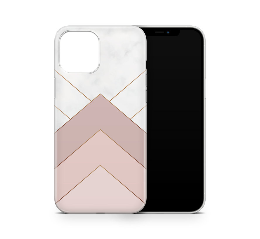 ShieldCase Gold Marmer Stripes iPhone 12 Pro hoesje (wit/roze)