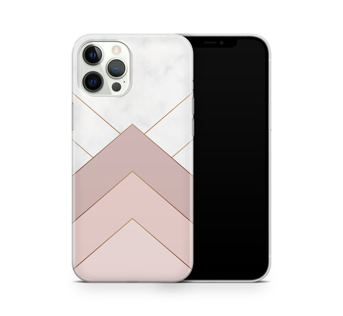 ShieldCase® ShieldCase Gold Marmer Stripes iPhone 12 Pro hoesje (wit/roze)