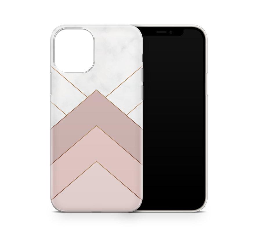 ShieldCase Gold Marmer Stripes iPhone 12 hoesje (wit/roze)
