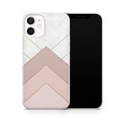 ShieldCase® Gold Marmer Stripes iPhone 12 hoesje (wit/roze)