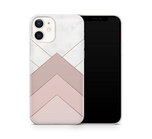 ShieldCase® ShieldCase Gold Marmer Stripes iPhone 12 hoesje (wit/roze)