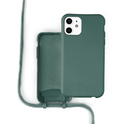 Coverzs Silicone case met koord iPhone 12 / 12 Pro (donkergroen)