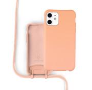 Coverzs Silicone case met koord iPhone 12 / 12 Pro (oranje)