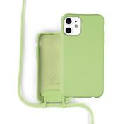Coverzs Silicone case met koord iPhone 11 (Lichtgroen)