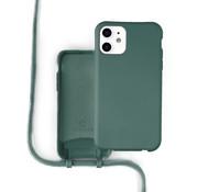 Coverzs Silicone case met koord iPhone 11 (donkergroen)
