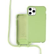 Coverzs Silicone case met koord iPhone 11 Pro Max (lichtgroen)