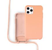 Coverzs Silicone case met koord iPhone 11 Pro Max (oranje)