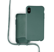 Coverzs Silicone case met koord iPhone X / Xs (donkergroen)