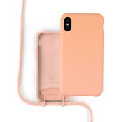 Coverzs Silicone case met koord iPhone X / Xs (oranje)