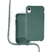 Coverzs Silicone case met koord iPhone Xr (donkergroen)