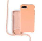 Coverzs Silicone case met koord iPhone 7/8 Plus (oranje)