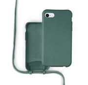 Coverzs Silicone case met koord iPhone 7/8 (donkergroen)