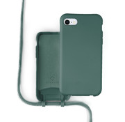 Coverzs Silicone case met koord iPhone 7/8/SE2020 (donkergroen)