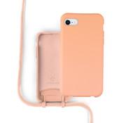Coverzs Silicone case met koord iPhone 7/8/SE2020 (oranje)