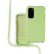Coverzs Silicone case met koord Samsung Galaxy S20 (lichtgroen)