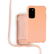 Coverzs Silicone case met koord Samsung Galaxy S20 Plus (oranje)