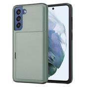 ShieldCase® Kaarthouder case met slide Samsung Galaxy S21 FE (groen)