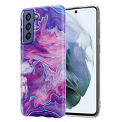 ShieldCase® Marble Swirl Samsung Galaxy S21 FE hoesje (paars/roze)