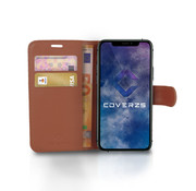 Coverzs iPhone X / Xs Bookcase hoesje (bruin)