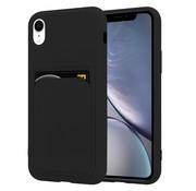 ShieldCase® iPhone Xr siliconen hoesje met pasjeshouder (zwart)