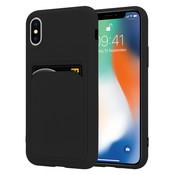 ShieldCase® iPhone X / Xs siliconen hoesje met pasjeshouder (zwart)