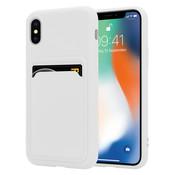 ShieldCase® iPhone X / Xs siliconen hoesje met pasjeshouder (wit)