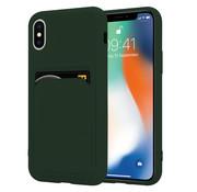 ShieldCase® iPhone X / Xs siliconen hoesje met pasjeshouder (donkergroen)