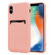 ShieldCase® iPhone X / Xs siliconen hoesje met pasjeshouder (roze)